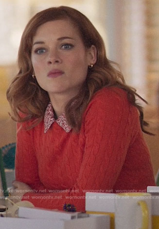 Zoey's red cable knit sweater and floral collar on Zoeys Extraordinary Playlist
