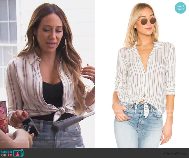 Buttondown Tie Front Blouse by 1.State worn by Melissa Gorga  on The Real Housewives of New Jersey