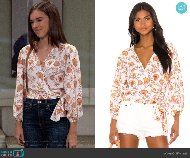 1.State Wrap Front Petal Leaf Garden Blouse worn by Willow Tait (Katelyn MacMullen) on General Hospital