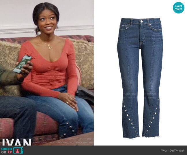 7 For All Mankind Edie Frayed Grommet-Trim Jeans  worn by Ali Finer (Javicia Leslie) on God Friended Me