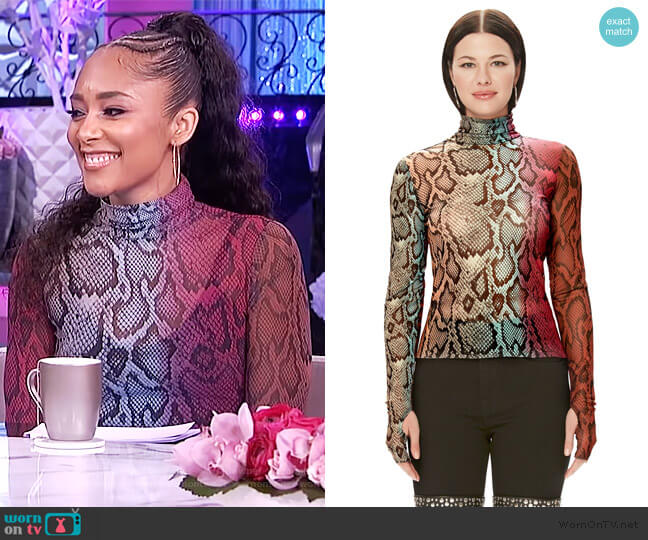 Zadie Power Mesh Turtleneck Top by AFRM worn by Amanda Seales  on The Real