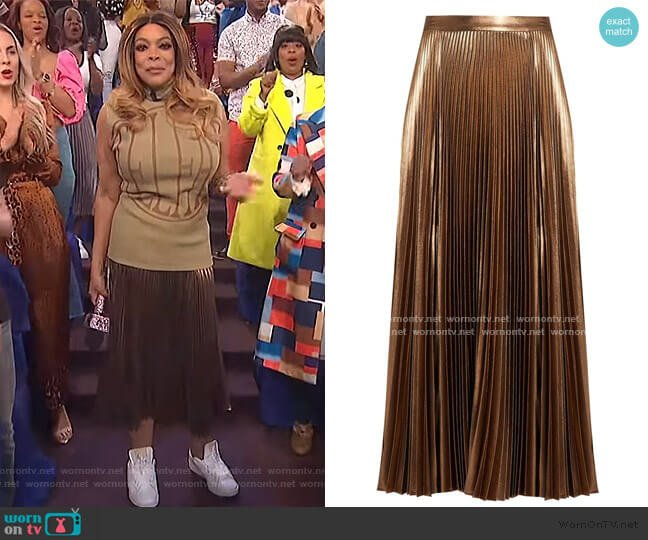 Pleated Lame Midi Skirt by A.L.C. worn by Wendy Williams  on The Wendy Williams Show