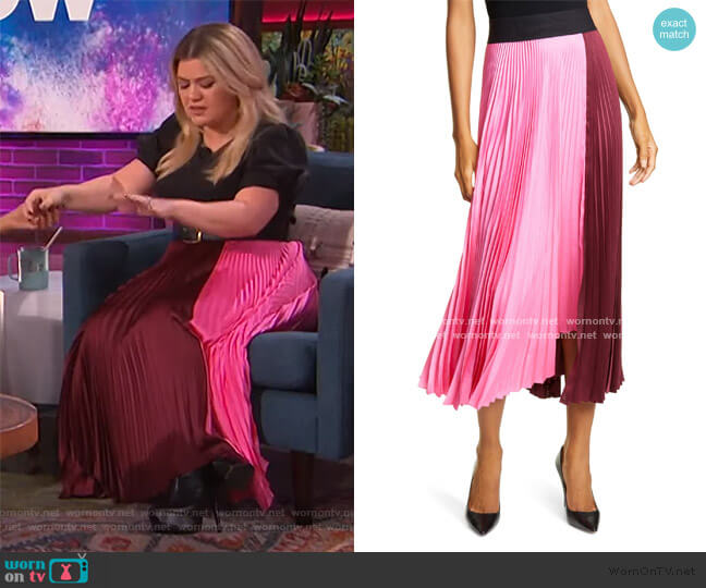 Grainger Asymmetrical Pleated Midi Skirt by A.L.C. worn by Kelly Clarkson  on The Kelly Clarkson Show