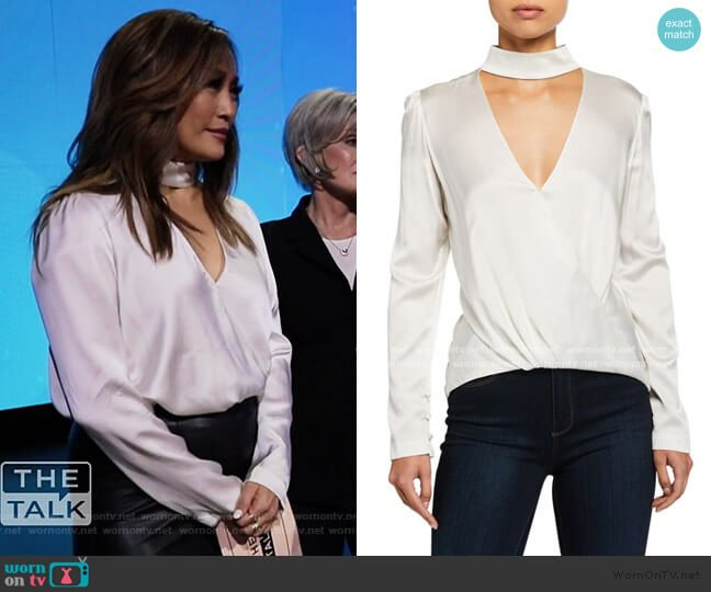Raquel Mock-Neck High-Low Silk Cutout Top by A.L.C. worn by Carrie Inaba  on The Talk
