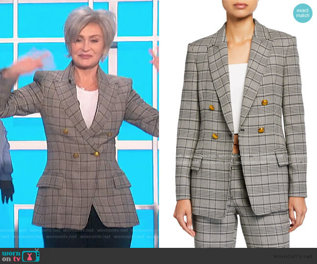 Sedgwick II Double-Breasted Plaid Jacket by A.L.C. worn by Sharon Osbourne  on The Talk