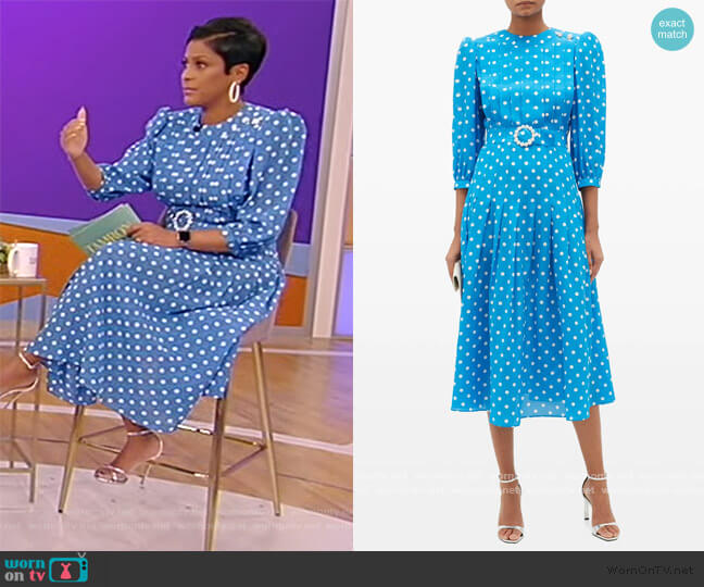 Embellished Polka-dot Silk Dress by Alessandra Rich worn by Tamron Hall  on Tamron Hall Show