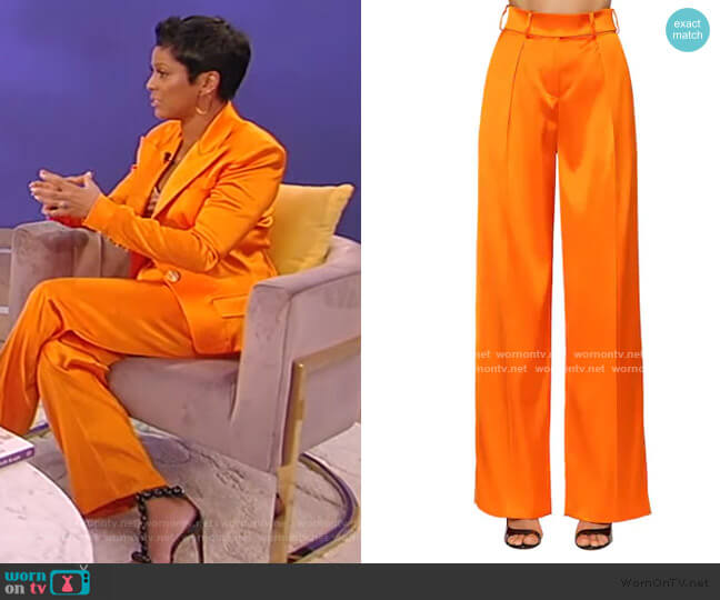 High Waist Stretch Satin Pants by Alexandre Vauthier worn by Tamron Hall  on Tamron Hall Show