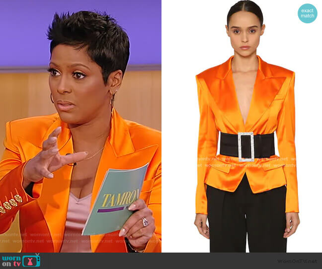 Single Button Satin Blazer by Alexandre Vauthier worn by Tamron Hall  on Tamron Hall Show