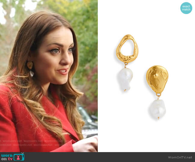 The Infernal Storm Freshwater Pearl Drop Earrings by Alighieri worn by Fallon Carrington (Elizabeth Gillies) on Dynasty