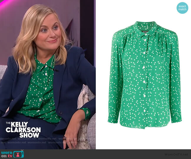 Silk Heart Print Blouse by A.P.C. worn by Amy Poehler on The Kelly Clarkson Show