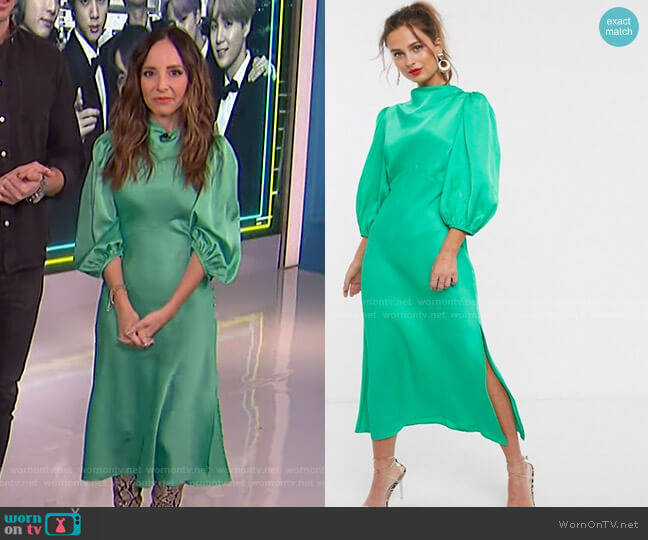Cowl Neck Satin Tea Midi Dress with Puff Sleeve by Asos worn by Lilliana Vazquez  on E! News