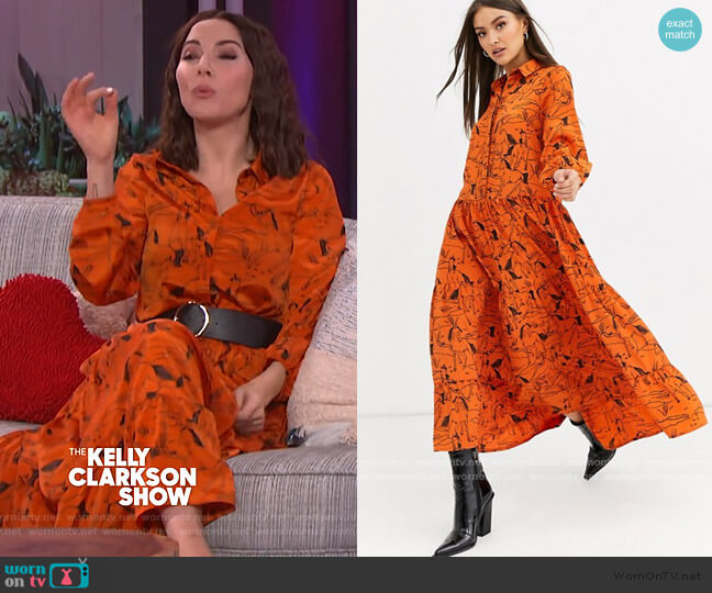 Neon Rose Maxi Tiered Tea Dress in horse sketch print by ASOS worn by Whitney Cummings on The Kelly Clarkson Show