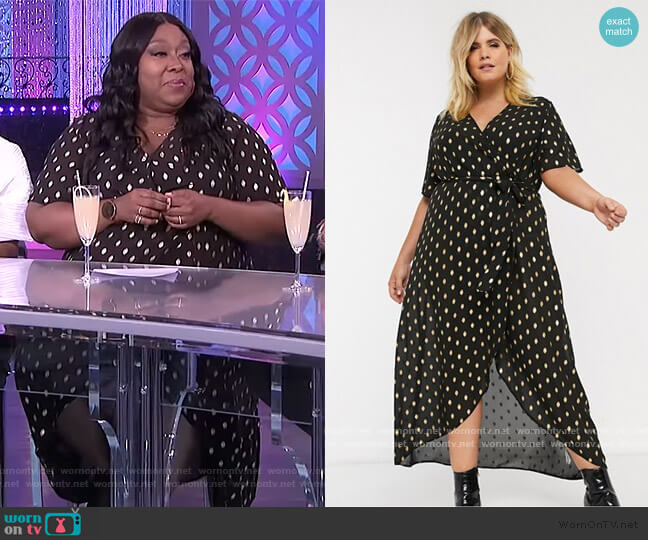 New Look Wrap Dress in Gold Polka Dot by ASOS worn by Loni Love  on The Real