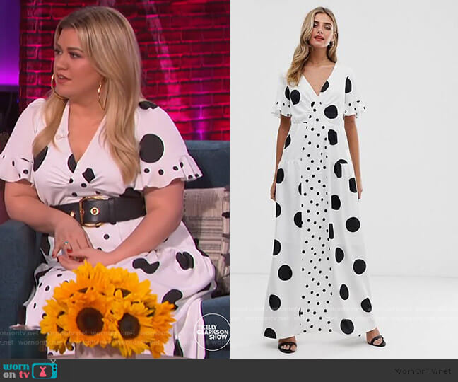 Twisted Wunder satin maxi dress in mix and match polka by ASOS worn by Kelly Clarkson  on The Kelly Clarkson Show