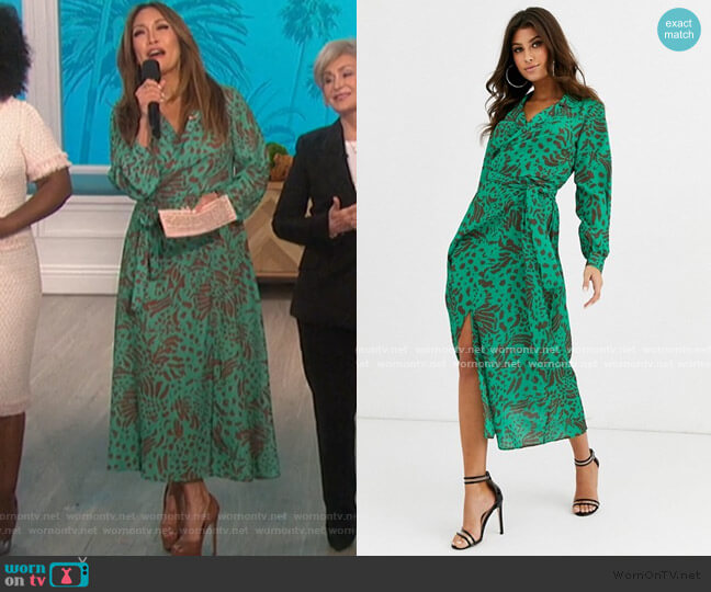 Wrap Front Midi Dress in abstract animal print by ASOS worn by Carrie Inaba  on The Talk