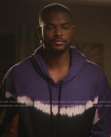 Aaron's purple tie dye hoodie on Grown-ish