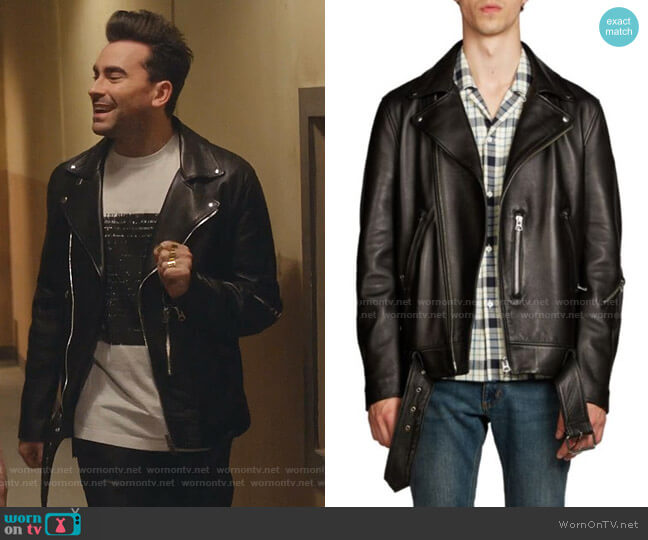 Nate Clean Leather Moto Jacket by Acne Studios worn by David Rose (Daniel Levy) on Schitts Creek