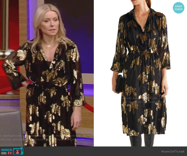 Flocked Jacquard Midi Dress by Adam Lippes worn by Kelly Ripa  on Live with Kelly & Ryan