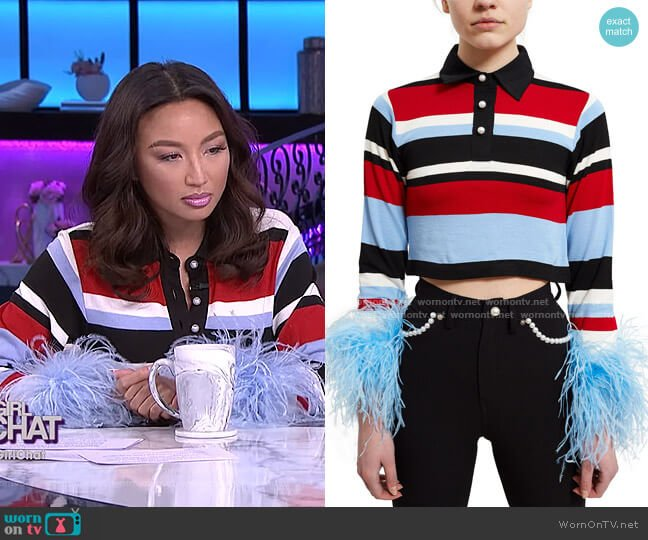 Mandrel Polo Top by Adam Selman worn by Jeannie Mai  on The Real