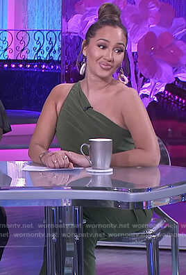Adrienne's green ruched one shoulder dress on The Real