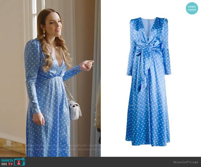 Polka Dot Satin Dress by Alessandra Rich worn by Fallon Carrington (Elizabeth Gillies) on Dynasty