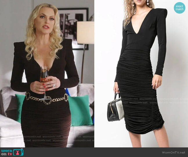 Clove Ruched Fitted Dress by Alex Perry worn by Alexis Carrington (Elaine Hendrix) on Dynasty