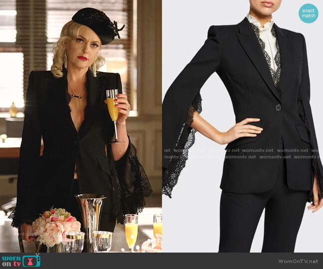 Lace-Trim Leaf Crepe Blazer by Alexander Mcqueen worn by Alexis Carrington (Elaine Hendrix) on Dynasty