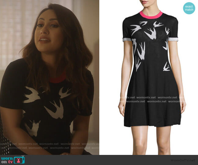 Short-Sleeve Jacquard Skater Dress by McQ Alexander McQueen worn by Ana Torres (Francia Raisa) on Grown-ish