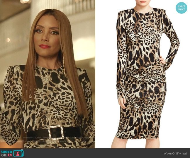 Ruched Jersey Lynx Print Bodycon Dress by Alexandre Vauthier worn by Dominique Deveraux (Michael Michele) on Dynasty
