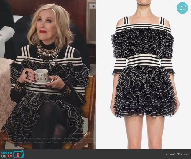 Frill Mini Dress by Alexander McQueen worn by Moira Rose (Catherine O'Hara) on Schitts Creek