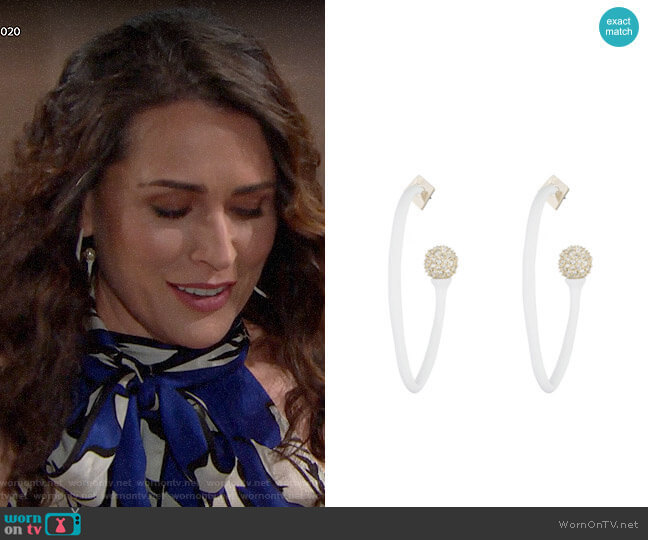 Pave Detail Hoop Earrings by Alexis Bittar worn by Quinn Fuller (Rena Sofer) on The Bold & the Beautiful