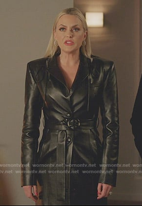 Alexis's black lace-up shoulder leather coat on Dynasty
