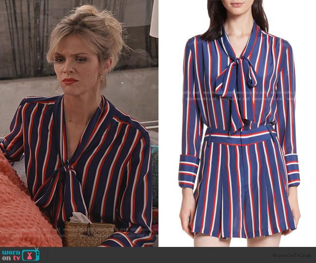 Arie Tie-Neck Stripe Silk Blouse by Alice + Olivia worn by Mallory (Brooklyn Decker) on Grace & Frankie