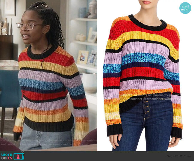 Barb Striped Sweater by Alice + Olivia worn by Diane Johnson (Marsai Martin) on Blackish