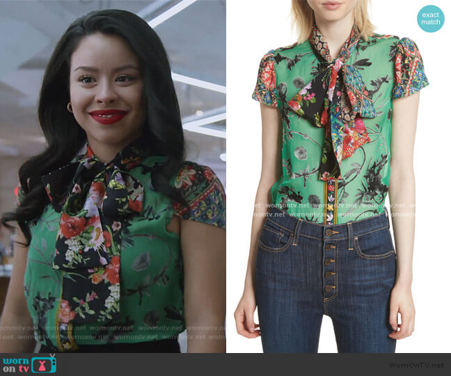 Bow Neck Mixed Print Blouse by Alice + Olivia worn by Mariana Foster (Cierra Ramirez) on Good Trouble