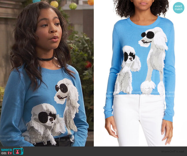 Connie Poodle Intarsia Sweater by Alice + Olivia worn by Tess O'Malley (Sky Katz) on Ravens Home