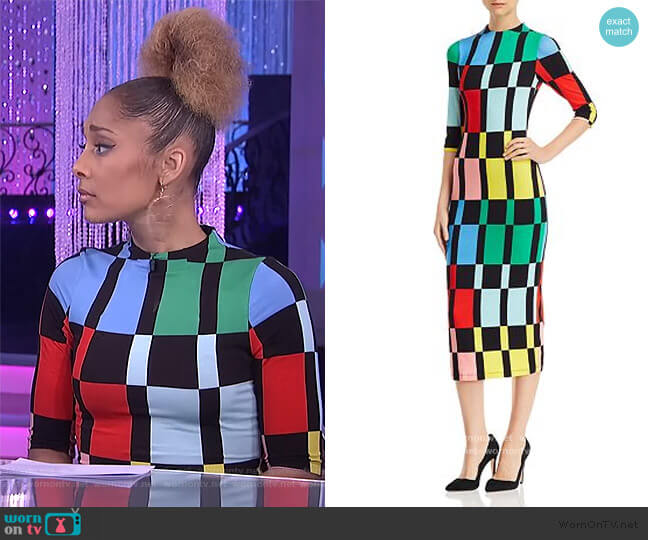 Delora Geometric Print Midi Dress by Alice + Olivia worn by Amanda Seales  on The Real