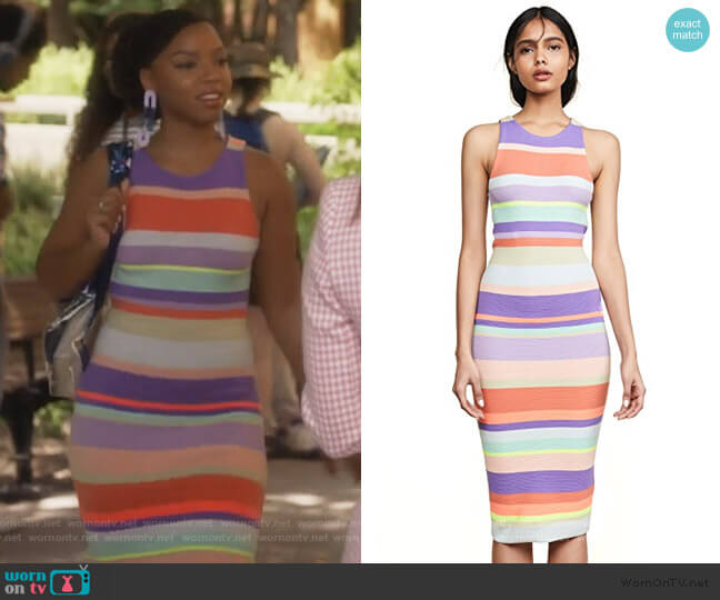 Jenner Striped Dress by Alice + Olivia worn by Jazlyn Forster (Chloe Bailey) on Grown-ish