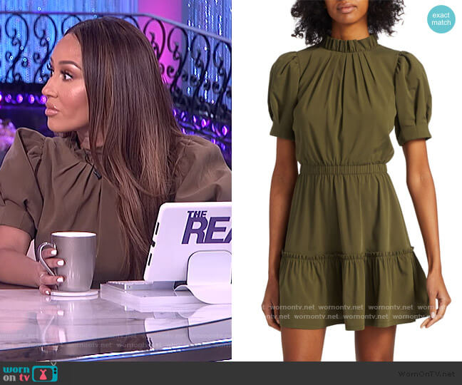 Vida Puff Sleeve Ruffle Dress by Alice + Olivia worn by Adrienne Houghton  on The Real