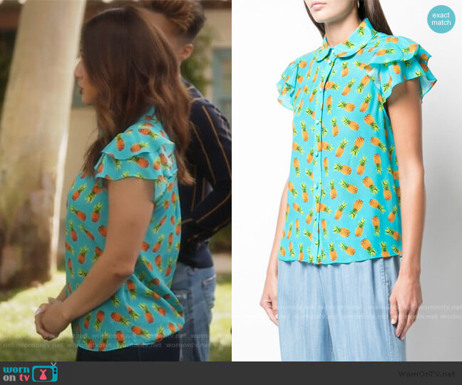 Ziggy Ruffle Blouse by Alice + Olivia worn by Ana Torres (Francia Raisa) on Grown-ish