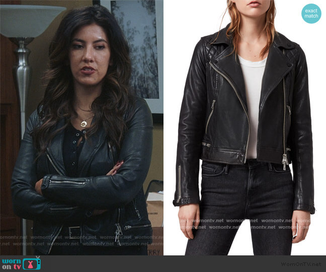 Conroy Leather Biker Jacket by All Saints worn by Rosa Diaz (Stephanie Beatriz) on Brooklyn Nine-Nine