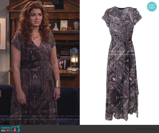 Leila Scarf Dress by All Saints worn by Grace Adler (Debra Messing) on Will & Grace