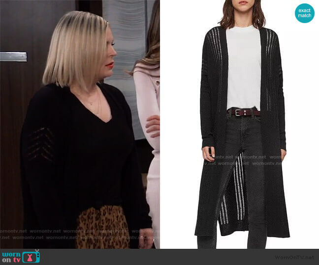All Saints Mara Duster Cardigan worn by Maxie Jones (Kirsten Storms) on General Hospital