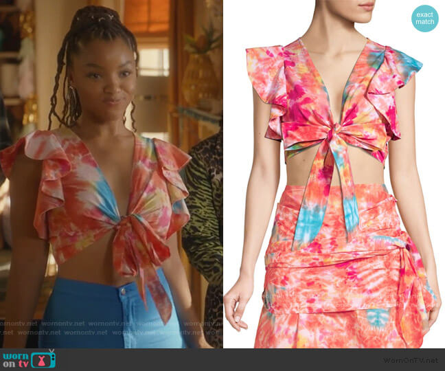 Lana Tie-Dye Wrap Top by All Things Mochi worn by Jazlyn Forster (Chloe Bailey) on Grown-ish