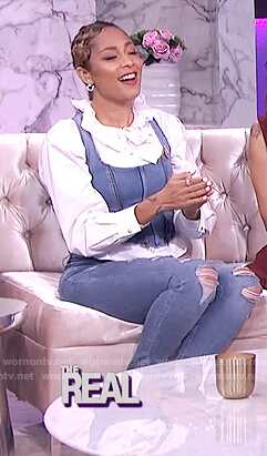 Amanda's denim corset and white ruffle blouse on The Real