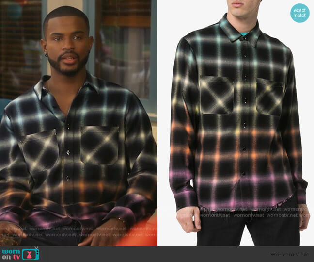 Ombre Plaid Shirt by Amiri worn by Aaron Jackson (Trevor Jackson) on Grown-ish