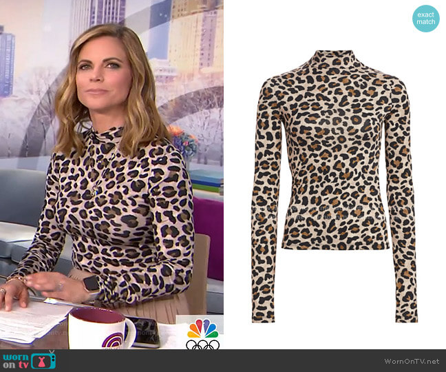 Beth Leopard-Print Turtleneck Top by Andamane worn by Natalie Morales  on Today