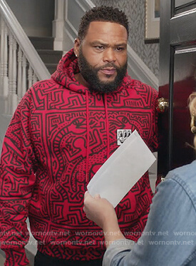 Andre's red printed hoodie on Black-ish