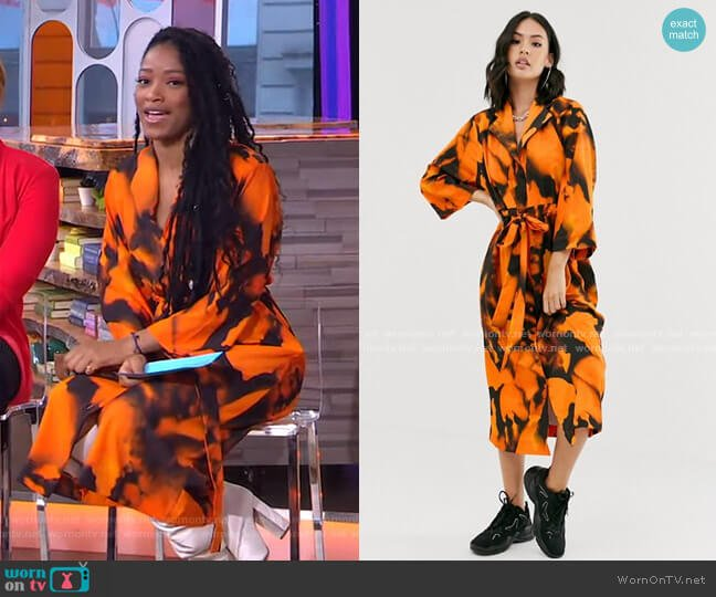 Slouch Shirt Dress with Drawstring Waist in Blur Print by Another Reason worn by Keke Palmer  on Good Morning America