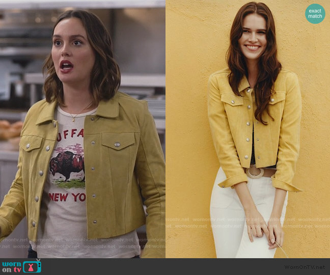 Cropped Suede Trucker Jacket by Blank NYC worn by Angie (Leighton Meester) on Single Parents